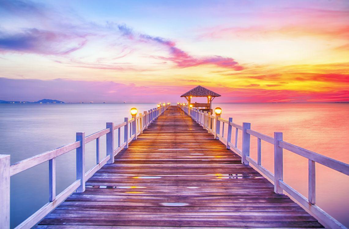 Фото бесплатно Лесистый мост в порту между восходом солнца, Таиланд, Бангкок - на рабочий стол