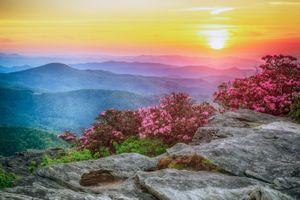 Бесплатные фото Гора Хоксбилл,Моргантон,Северная Каролина,Соединенные Штаты Америки,закат,пейзаж