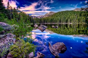 Photo free Bear Lake, mountains, stones