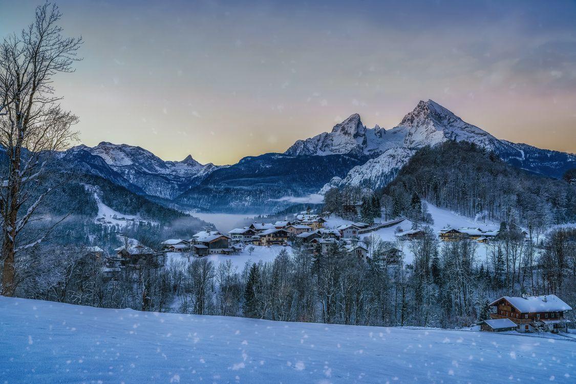 Фото бесплатно зима, Берхтесгаден, Вальцманн, бавария, Германия, пейзаж, горы, небо, склон, снег, деревья, пейзажи