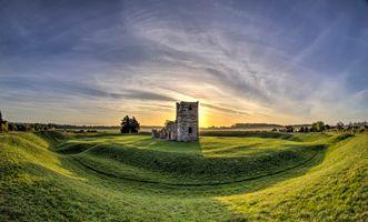 Фото бесплатно небо, рассвет, церковь нолтон и н нг