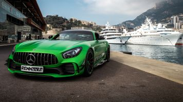 Photo free Mercedes AMG GT C, in the Parking lot in front of the yachts, ships