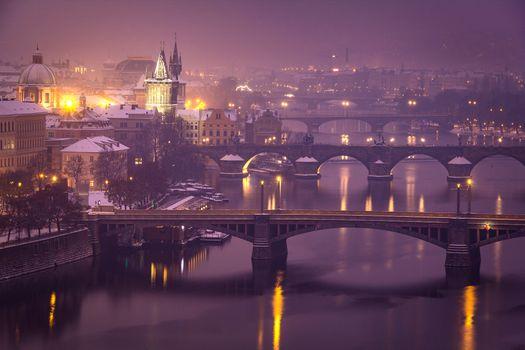 Фото бесплатно Прага, ночь, зима