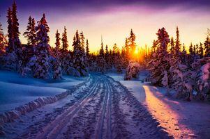 Заставки лыжные дорожки, сугробы, закат