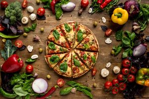 Photo free pizza, vegetables, cheese