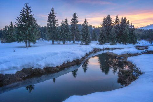 Заставки зима, река, закат