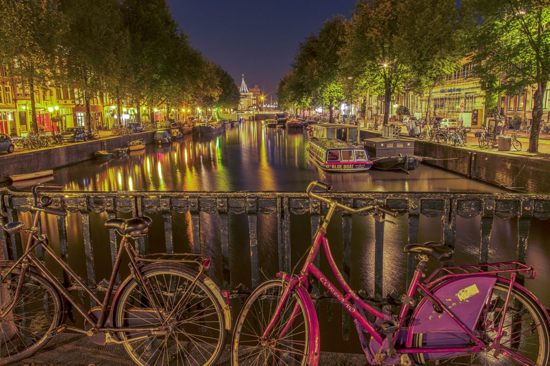 Фото бесплатно ночной город, Амстердам, ночь - на рабочий стол