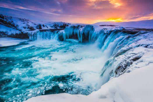 Фото бесплатно Beautiful Godafoss, Iceland, зима
