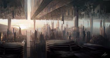 Photo free futuristic city, upside down world, two dimension