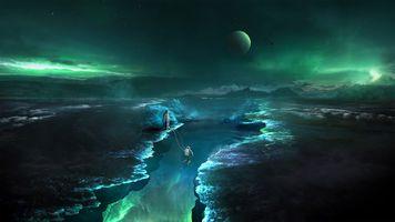 Фото бесплатно космос, вселенная, планеты, свечение, невесомость, вакуум, галактика, планета, космонавты, art