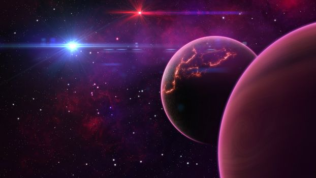 Photo free planets, glowing stars, explosion