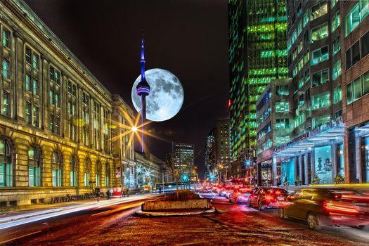 Бесплатные фото Торонто,Станция Юнион,город,ночь,улица,дома,луна,иллюминация,автомобили,городской пейзаж,ночные города
