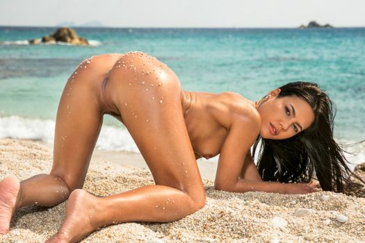 Бесплатные фото Apolonia Lapiedra,Аполония,брюнетка,пляж,загорелый,голый,раком,маленькие сиськи,обрезать куст,киска,половые губы,попа