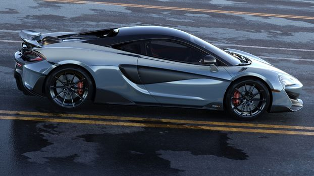 Photo free side view, supercar, silvery