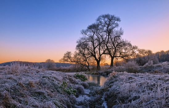 Бесплатные фото зима,закат,снег,деревья,сугробы,речка,ручей,пейзаж