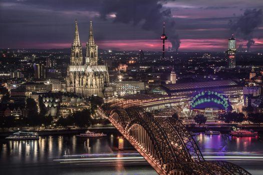 Фото бесплатно Германия, ночь, река Рейн