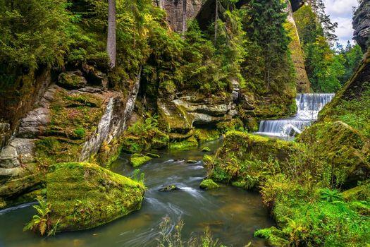 Бесплатные фото водопад,река,скалы,лес,деревья,природа,течение,пейзаж