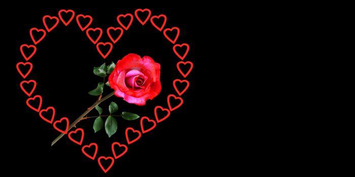 Бесплатные фото эмоции,любовь,сердце,день святого валентина,роза,символ,чувства,удача,счастливый,баннер заголовка,поздравительная открытка,чёрный фон