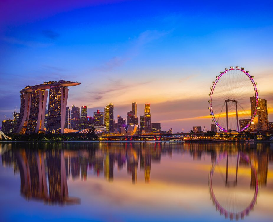 Картинка Singapore, Сингапур, город, сумерки, закат на рабочий стол. Скачать фото обои город