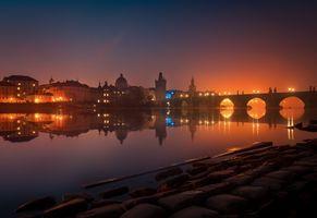 Фото бесплатно ночные города, Чехия, город