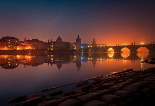 Заставки ночные города, Чехия, город