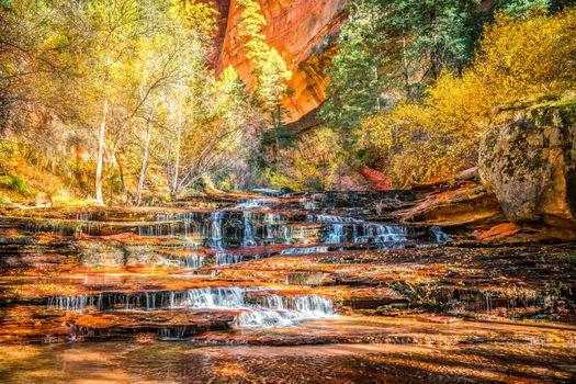 Photo free Zion National Park, autumn, waterfall