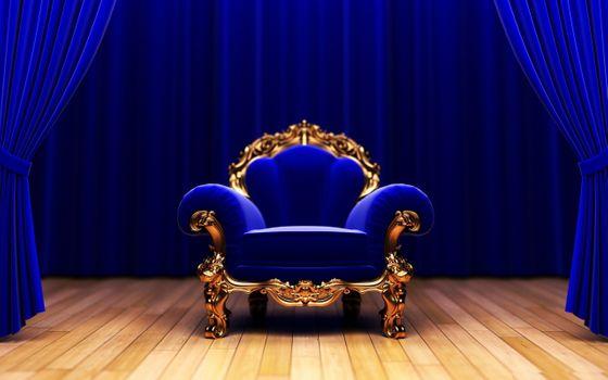 Заставки кресло, синий, король