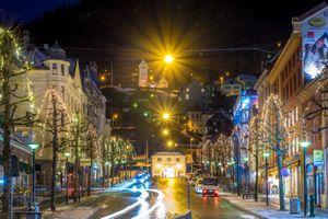 Бесплатные фото Улицы Бергена,Bergen,Norway,Берген,Норвегия,город,ночь