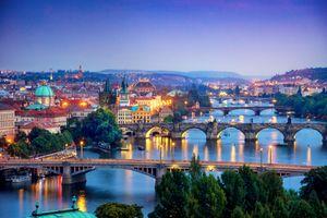 Фото бесплатно Карлов мост, город, закат