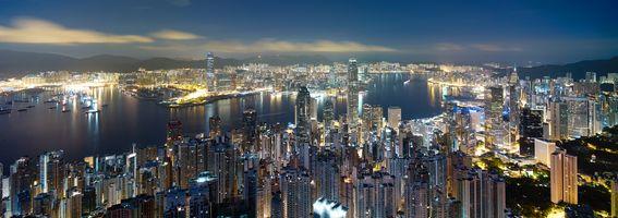 Заставки Гонконг,Китай,Гонг Конг,ночные города,город,панорама
