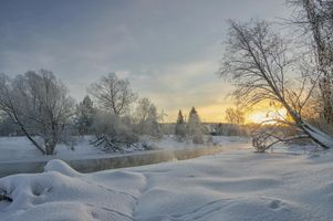 Бесплатные фото Река Нара,Россия,зима,снег,закат,деревья,сугробы