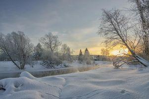 Заставки Река Нара, Россия, зима