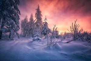 Заставки закат, снег, сугробы