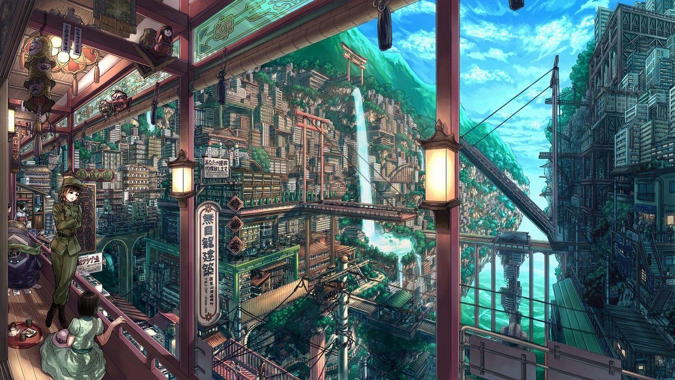 Фото бесплатно город аниме, аниме девушки, пейзаж - на рабочий стол