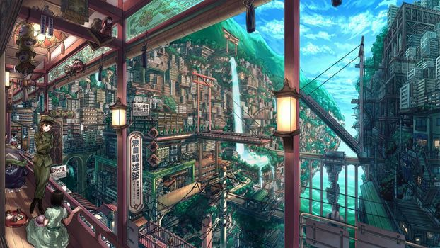 Photo free anime cityscape, anime girls, landscape