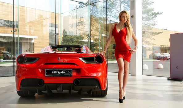 Photo free model, photo shoot, Ferrari