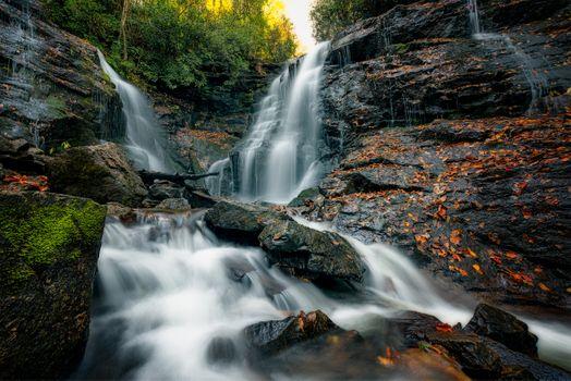 Фото бесплатно Soco Falls, Cherokee, North Carolina, водопад, скалы, поток, течение, деревья, природа, пейзаж