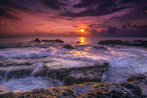 Photo free sea, Indonesia sunset, landscape