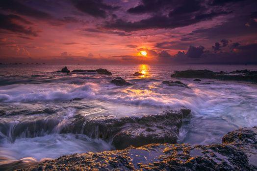Photo free sea, Indonesia sunset, landscape