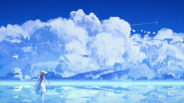 Photo free anime girl, beyond the clouds, white dress