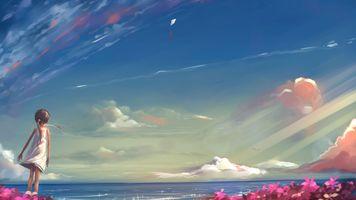 Бесплатные фото аниме девушки,море,небо