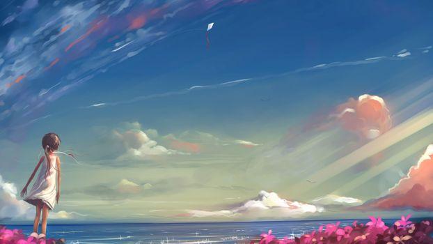 Photo free anime, girls, sea