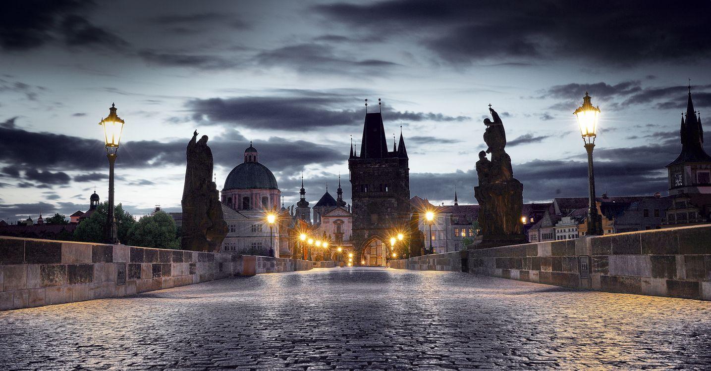 Фото бесплатно Charles Bridge, Prague, Замок, Карлов мост, Прага, Чехия, ночь, иллюминация, ночные города, город