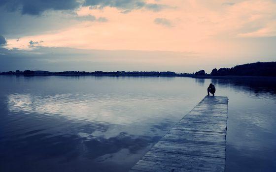 Фото бесплатно облака, причал, люди, настроение, Пирс, отражение