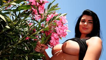 Бесплатные фото Люси Ли,грудь,4К,цветы,большие сиськи,улыбка,брюнетка