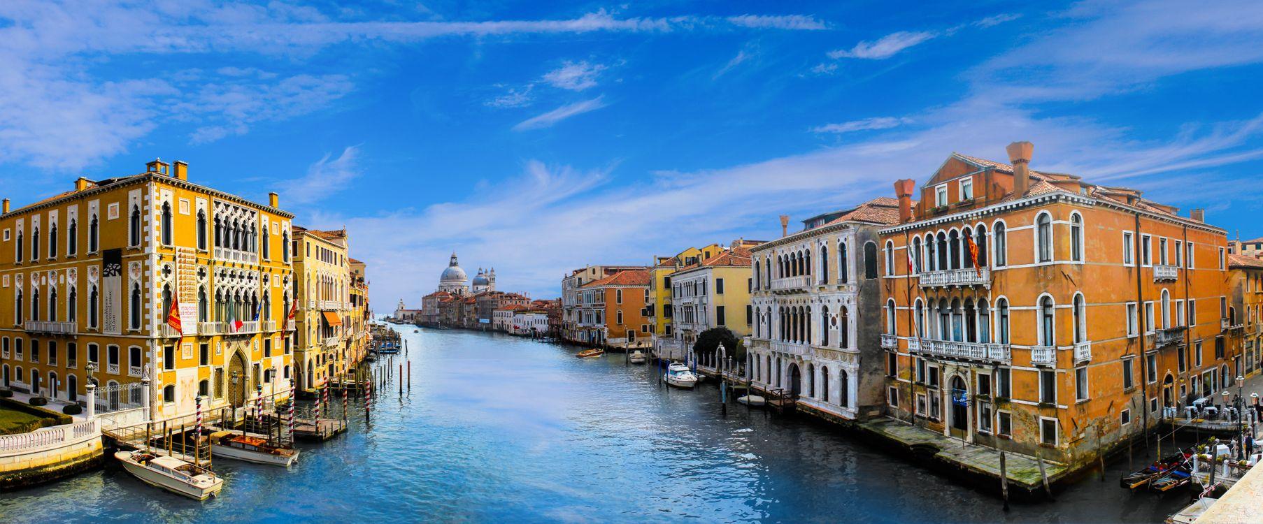 Фото бесплатно Венеция, Италия, Гранд-канал в Венеции, город, панорама, город