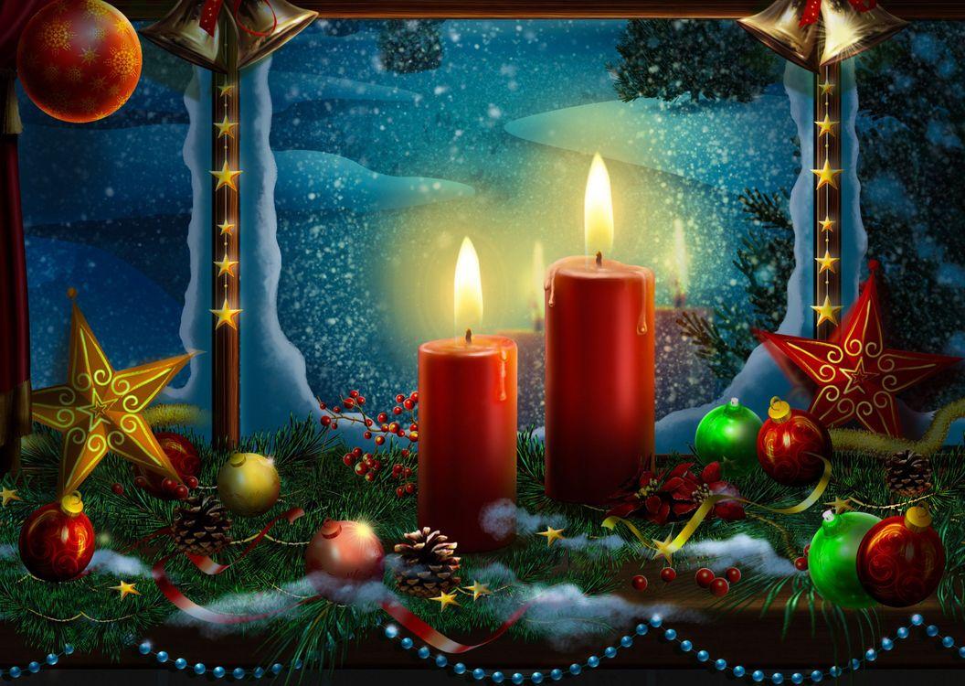 Фото бесплатно Christmas, Snow, Religious, Light, Christ, Wallpaper, окно, свечи, новогодние украшения, огонь, пламя, с новым годом, новогодние обои, новый год