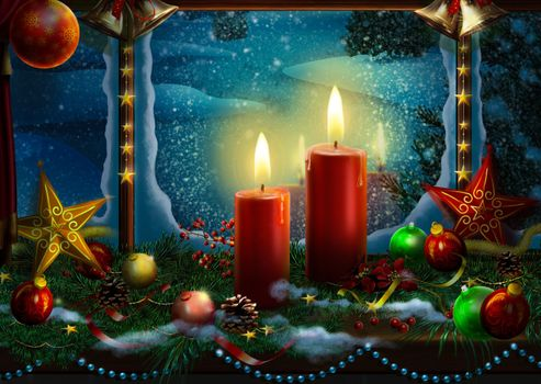 Бесплатные фото Christmas,Snow,Religious,Light,Christ,Wallpaper,окно,свечи,новогодние украшения,огонь,пламя,с новым годом