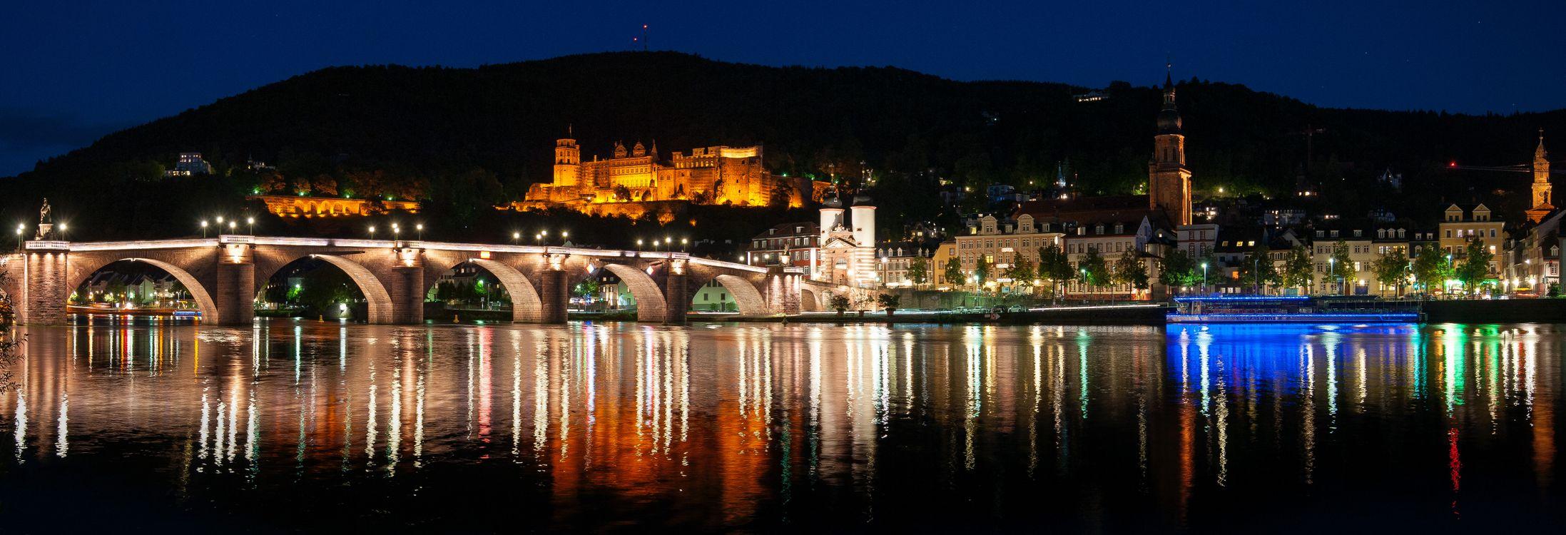 Фото бесплатно Heidelberg at night, Гейдельбергский замок, Гейдельберг - на рабочий стол