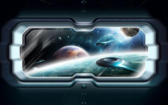 Фото бесплатно иллюминатор, космос, космический корабль